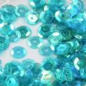 Sequins, Teal, Diameter 8mm, 250 pieces, 5g, Faceted Discs, Sequins are shiny, [CZP534]